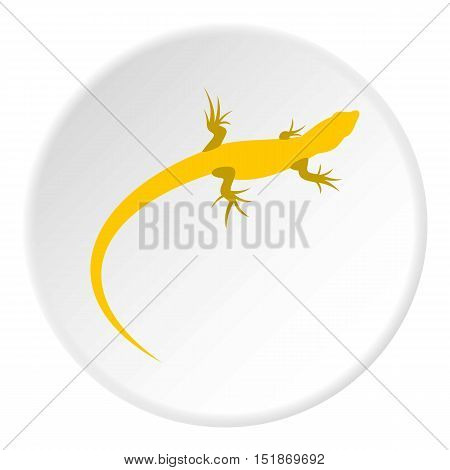 Yellow lizard icon. Flat illustration of yellow lizard vector icon for web