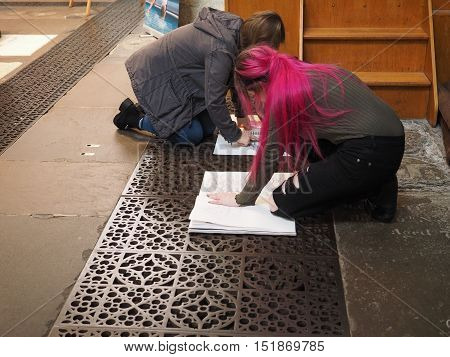 Young Female Artists In Bristol Cathedral