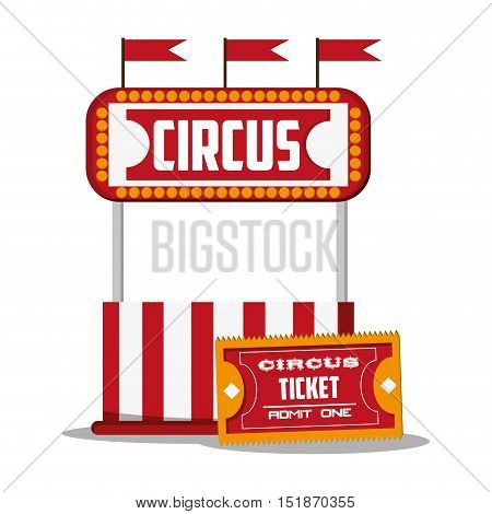 Ticket and banner icon. Carnival festival fair circus and celebration theme. Colorful design. Vector illustration