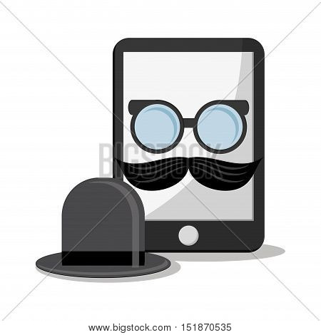 Smartphone glasses mustache and hat icon. Hipster style vintage retro fashion and culture theme. Colorful design. Vector illustration