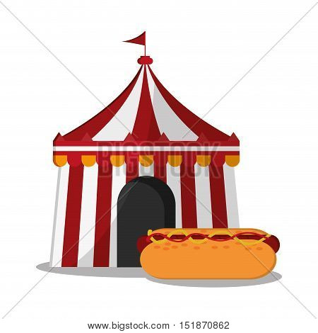 Striped tent and hot dog icon. Carnival festival fair circus and celebration theme. Colorful design. Vector illustration