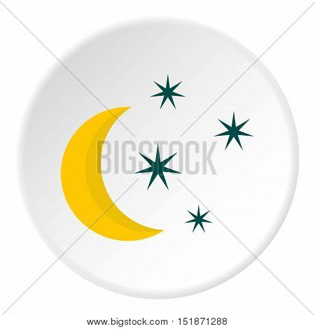 Crescent and star icon. Flat illustration of crescent and star vector icon for web