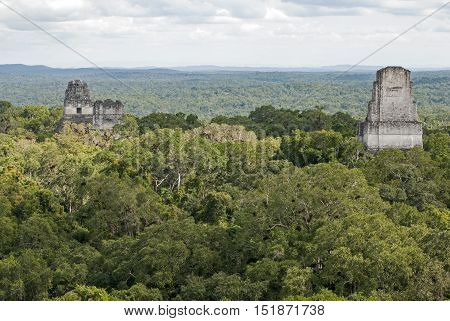 Ancient Mayan pyramids Temple I and Temple IV in Tikal Guatemala