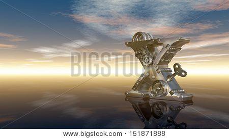 machine letter x under cloudy sky - 3d illustration