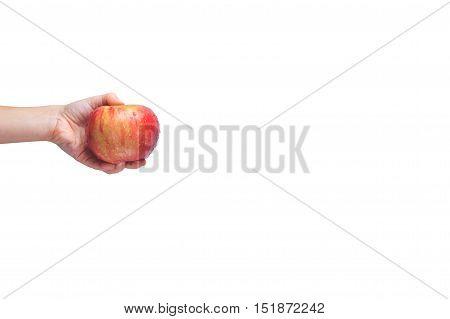 Go Vegan! Concept Of Veganism. Vegan Diet.  Human Hand With Apple.