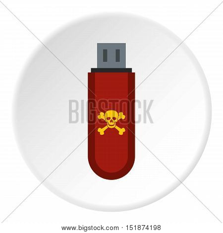 Usb flash drive with virus icon. Flat illustration of usb flash drive with virus vector icon for web