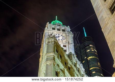 Chicago night view.