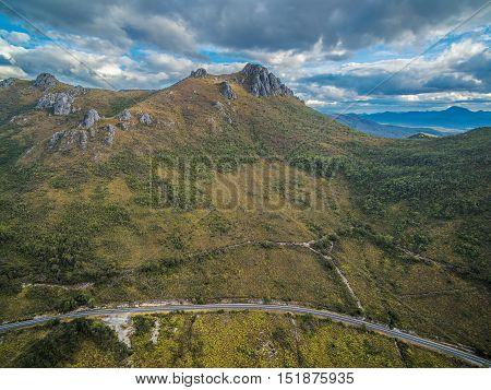 Rugged Cliffs Above Gordon River Road, Florentine, Tasmania