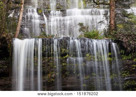 Famous Russel Falls Closeup On Flowing Water, Mount Field National Park, Tasmania
