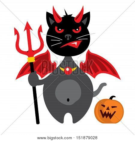 Kitten with trident. Isolated on a White Background