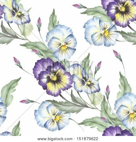 Seamless pattern with pansies. Hand draw watercolor illustration.