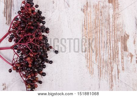 Bunch Of Fresh Elderberry On Old Wooden Background, Copy Space For Text