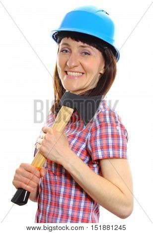 Woman With Axe Wearing Protective Blue Helmet