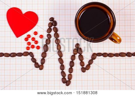 Cardiogram Line Of Coffee Grains, Cup Of Coffee And Supplement Pills, Medicine And Healthcare Concep