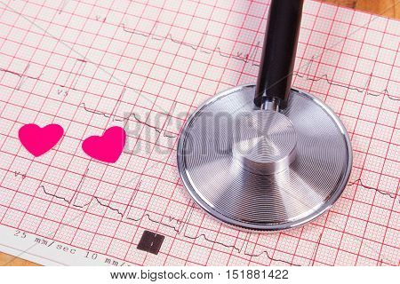 Hearts Of Paper And Stethoscope On Electrocardiogram Graph, Medicine And Healthcare Concept