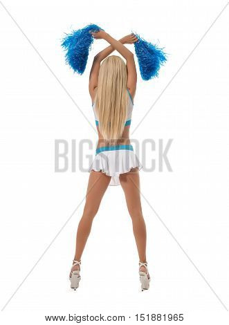 Rear view of leggy cheerleader with pom-poms. Isolated on white backdrop