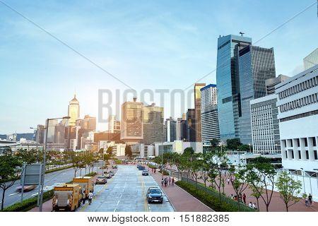 Modern high - rise buildings in Hong Kong, China