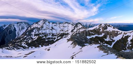 An Alpine Panorama Above Lake Angelus.  Nelson Lakes National Park, Southern Alps, New Zealand