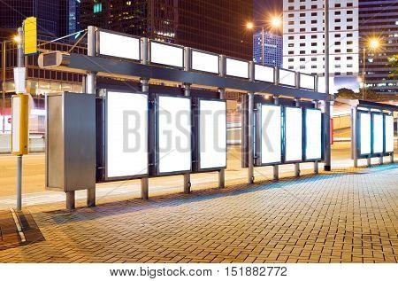 Big cities at night roadside billboard blank.