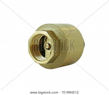 Brass Check Valve isolated on white Background Clipping paths