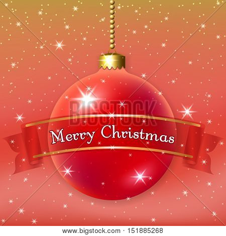 Merry Christmas decoration background with 3d red ball. Stars glitter bauble and ribbon white winter snowflakes. Xmas card Happy New Year celebration. Holiday design Vector illustration