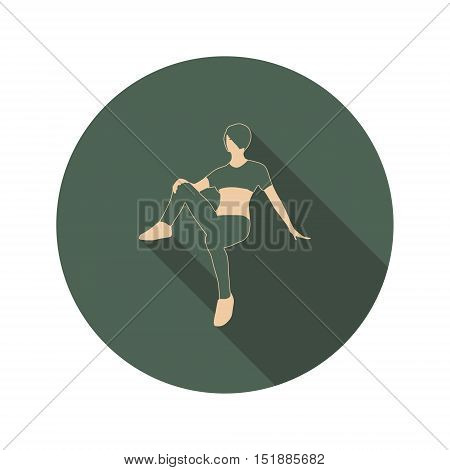 Sporty woman sits on a floor. Short hair girl silhouette. Web Icon in Flat Design with Long Shadows