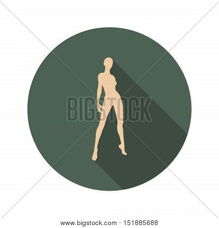 Sexy women icon. Fashion mannequin. Web Icon in Flat Design with Long Shadows