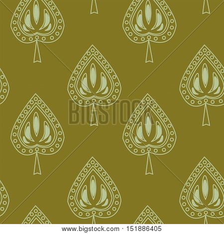 Symmetrical seamless pattern with a decorative leaves