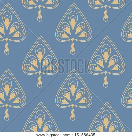 Symmetrical seamless pattern with a decorative stylized leaves