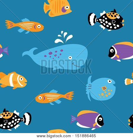 Seamless texture with a bare marine tropical fish