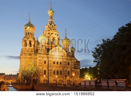 View of the old Cathedral of Resurrection (Savior on Blood) white night. Saint Petersburg