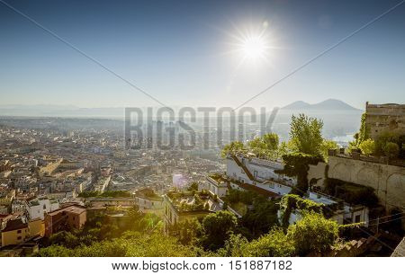 Cityscape of Naples in Campania, southern Italy