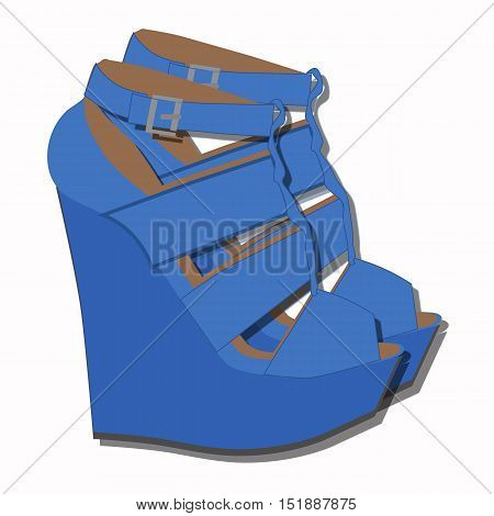 icon beautiful blue women's sandals on a high platform. The template for store decoration or sale. Vector illustration