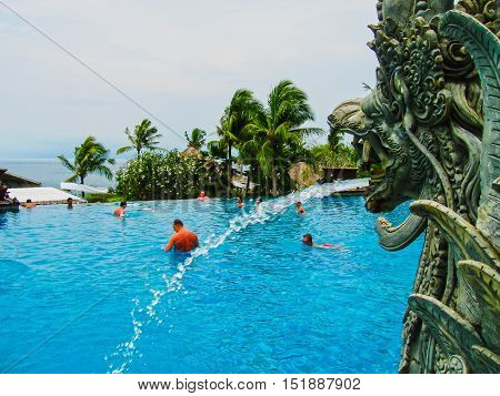 Nusa Dua Bali Indonesia - December 30 2008: View of swimming pool at The Ritz-Carlton Bali Resort