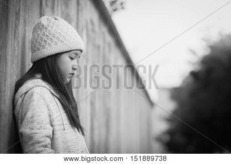Portrait of sad asian girl Vintage filter