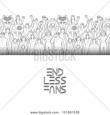 Crowd of cheering fans. Cyber sport concept. Vector endless border. Coloring book page design for adults and kids.