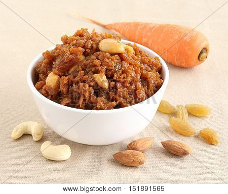Carrot halwa, an Indian traditional and popular sweet dish, which is typically made on the day of festivals like Diwali. Jaggery is used instead of sugar to make the food healthier.