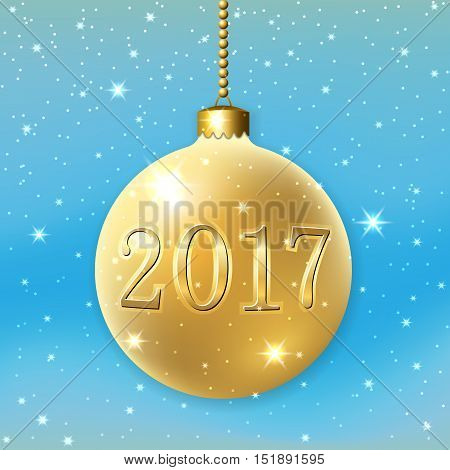Merry Christmas 2017 decoration on blue background. 3d gold ball. Glitter number golden bauble white snowflakes. Greeting card. Happy New Year celebration. Holiday design Vector illustration