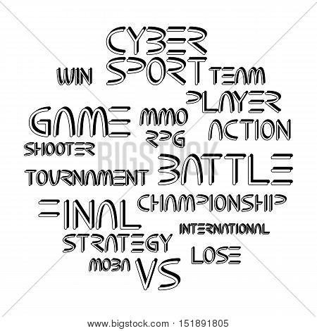 Cyber sport. Vector words and phrases related to computer games tournaments placed in circle shape. Coloring book page design for adults and kids.