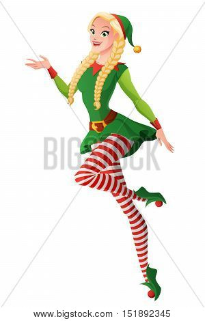 Pretty girl with braids in green Christmas elf costume presenting and flying. Cartoon style vector illustration isolated on white background.