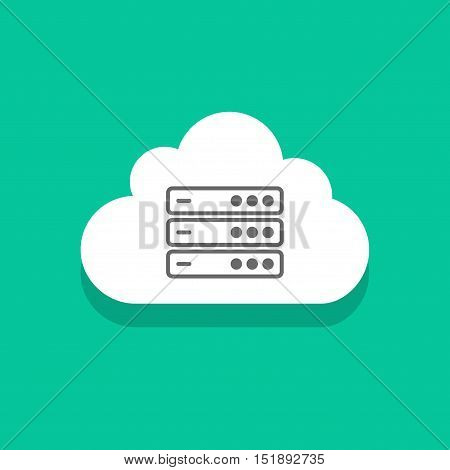 Cloud servers technology icon vector illustration isolated on green color background, concept cloud computing network sign, data center symbol flat cartoon design