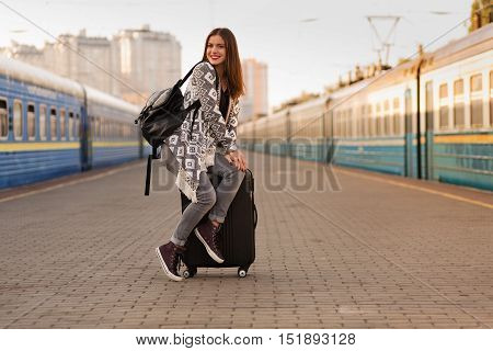Beautiful Woman At The Train Station