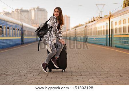 Beautiful Woman At The Train Station