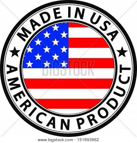 Made In Usa American Product Label With Flag, Vector Illustration