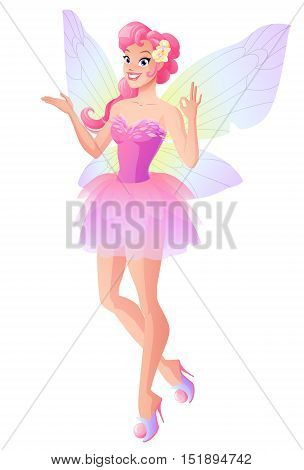 Beautiful fairy in pink dress with butterfly wings showing ok sign gesture. Cartoon style vector illustration isolated on white background.