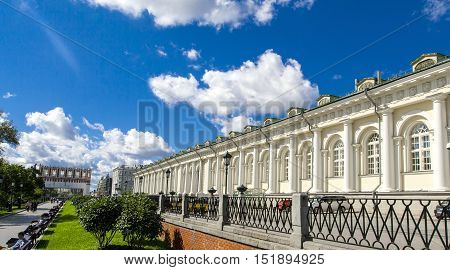 MOSCOW RUSSIA-August 17 2016: Red Square Alexander Garden District. View of alley and benches.