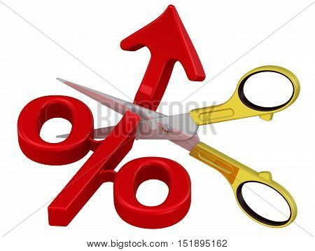 Stop percent growth. Scissors cut the arrow pointing up at the red symbol percent. The concept of the cessation of growth of the interest rate. Isolated. 3D Illustration