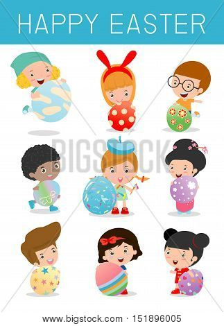 Set of Cute kids and Easter eggs isolated on white background. Easter eggs and children, happy easter , Easter eggs vector icons flat style.Vector illustration.
