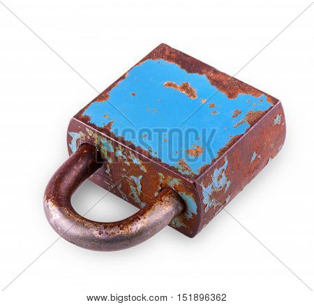 old closed iron rusty Padlock on white background