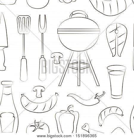 Set of various food barbecue icons pattern. Vector illustration, EPS 10